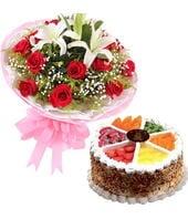 16枝玫瑰2枝百合+蛋糕...