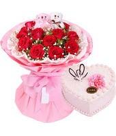 11枝红玫+心形鲜奶蛋糕...