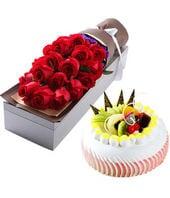 11朵红玫瑰+圆形水果蛋...