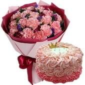 19朵粉康+圆形鲜奶蛋糕...