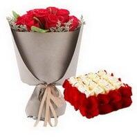 21枝红玫瑰,方形欧式鲜...