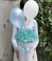 蓝色满天星一束,2个气球...